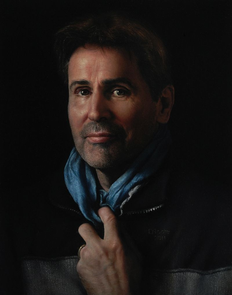 Self Portrait with blue scarf 2011 Oil on Panel 26x33cm